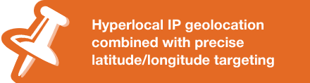 Hyperlocal IP geolocation combined with precise latitude/longitude targeting
