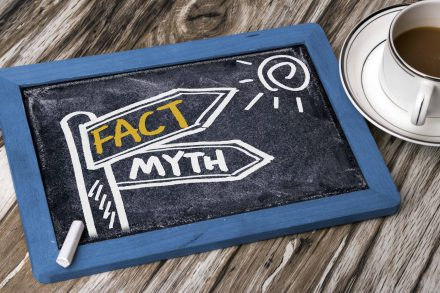fact and myth concept signpost hand drawing on blackboard